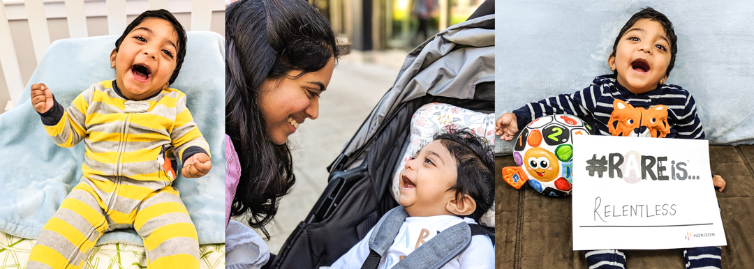 A collage of three photos are aligned horizontally, all of Raghav. In the first photo, he is smiling at the camera while wearing a yellow and grey striped onesie; the second photo is Ramya peering at Raghav as he smiles up from her in his stroller, and the third is a photo of Raghav smiling at the camera with a sign that says #RARE is relentless
