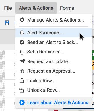 alerts and actions menu