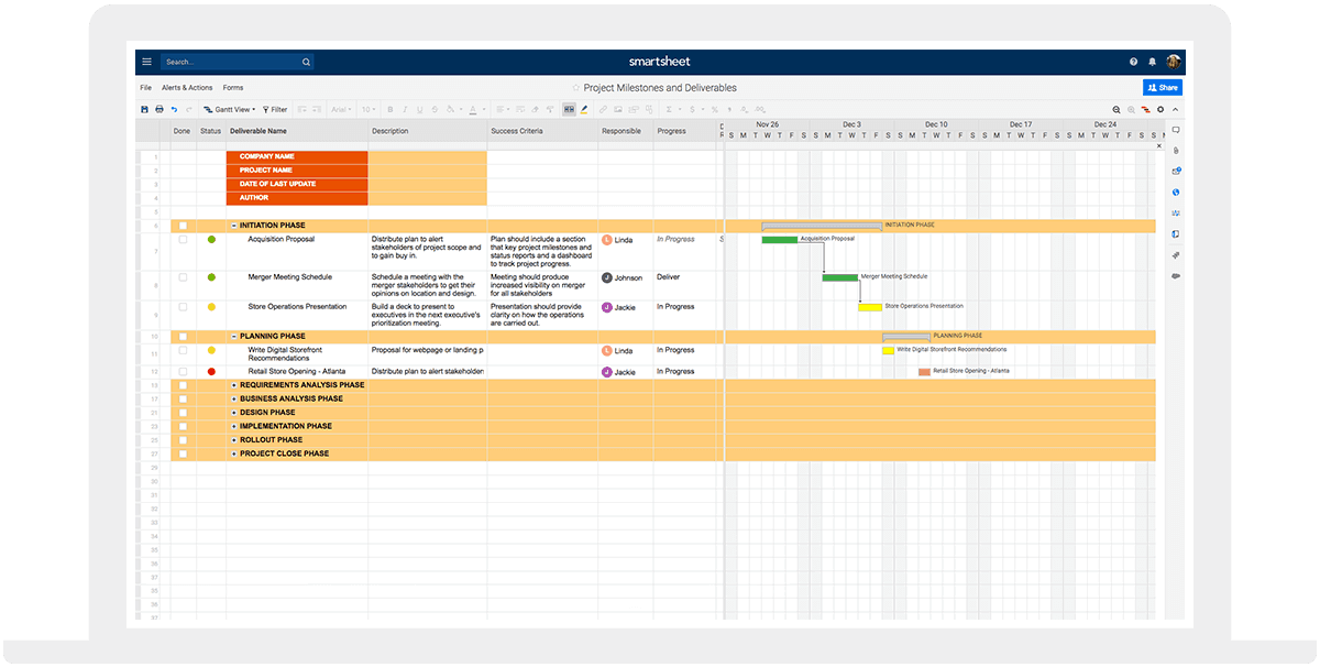 Project Management Template Device