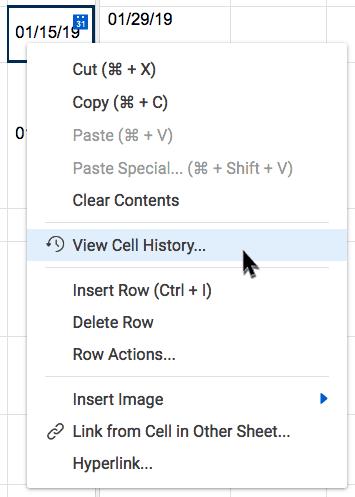 cell history menu