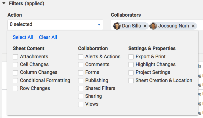 activity log filters