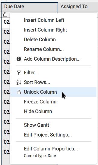 unlock column