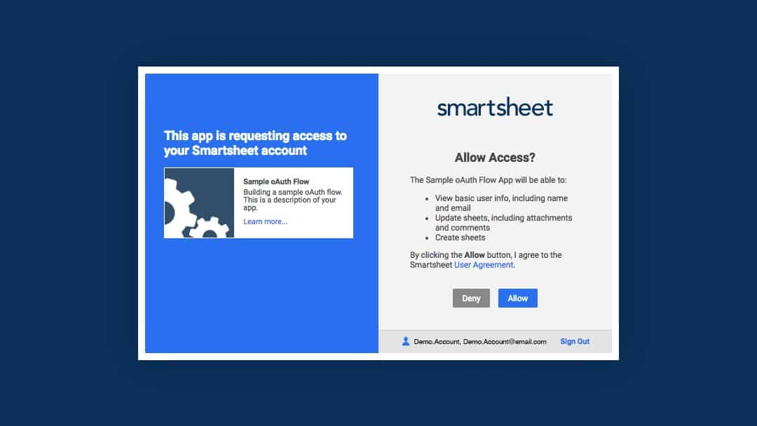 Screen capture for allowing access to Smartsheet
