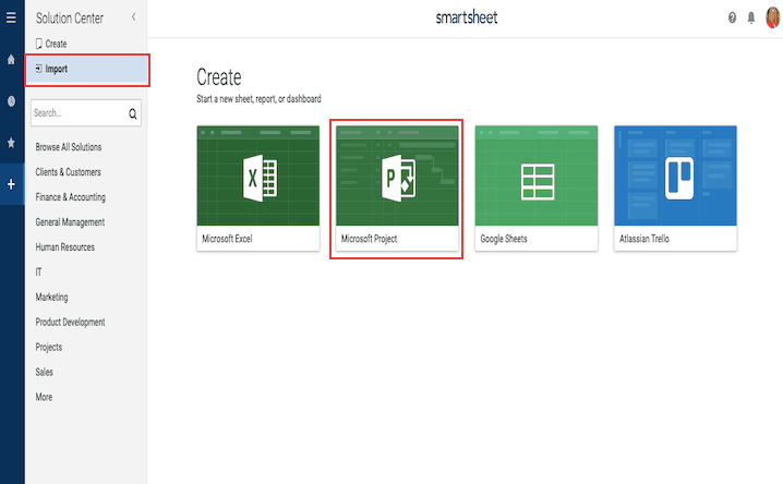 Import Microsoft Project into Smartsheet