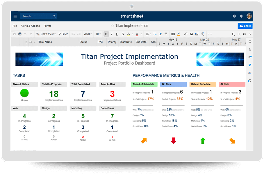 IC-Project-Management-Project-Portfolio-V2 Team Performance Chart Example on horizontal bar, electrical pie, process design flow, approval flow, behavior modification, business model flow,