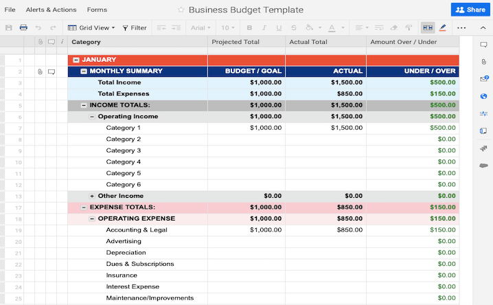 Business Budget Template