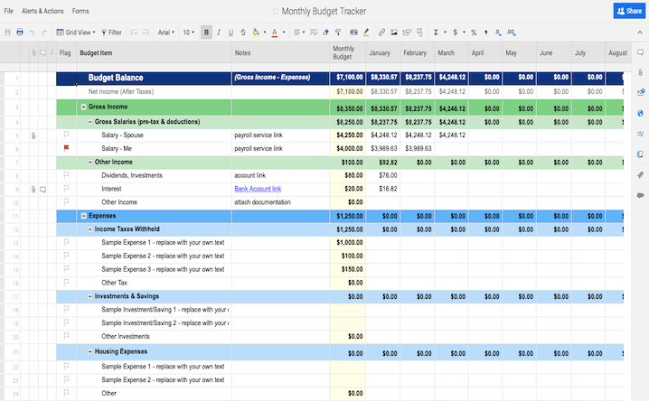 income expense excel template