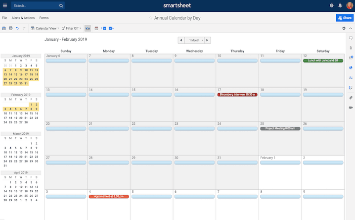 Free, Printable Excel Calendar Templates for 2019 & On | Smartsheet