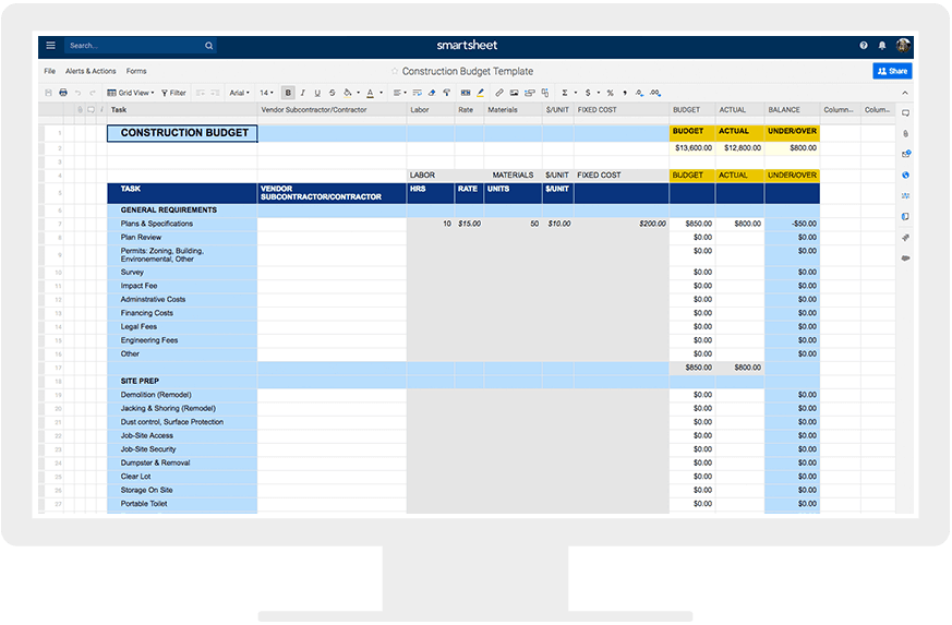 Additionally While The Construction Project Is Underway Use This Spreadsheet As A Baseline To Track Whether You Are Over Or Under Your Budgeted Amounts