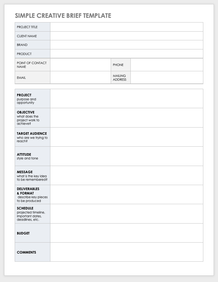 free design brief templates
