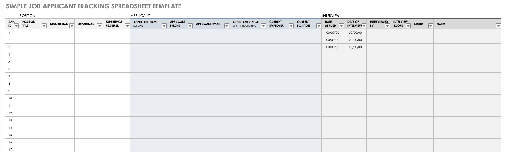 Free Applicant Tracking Spreadsheet Templates   Smartsheet