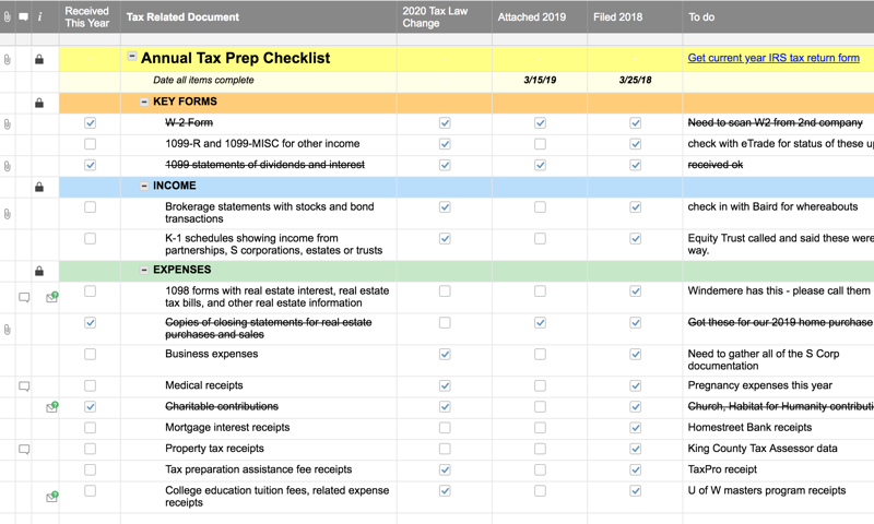 tax preparation checklist yearly smartsheet filing documents required dates verify attach forms returns everything keep simple