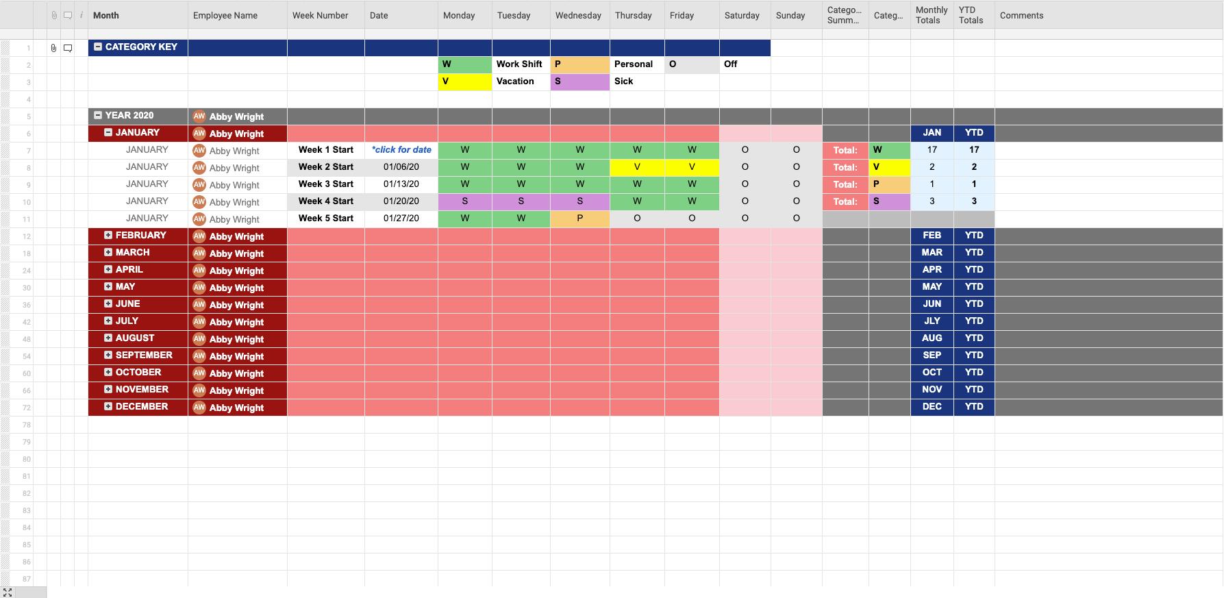 Employee Attendance Tracker   Smartsheet
