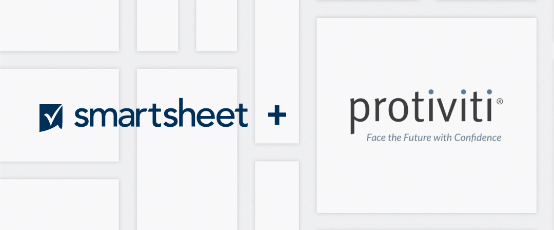 "The Smartsheet logo appears next to the Protiviti logo which includes the words ""Face the future with confidence"" against a background of white squares in varying sizes"