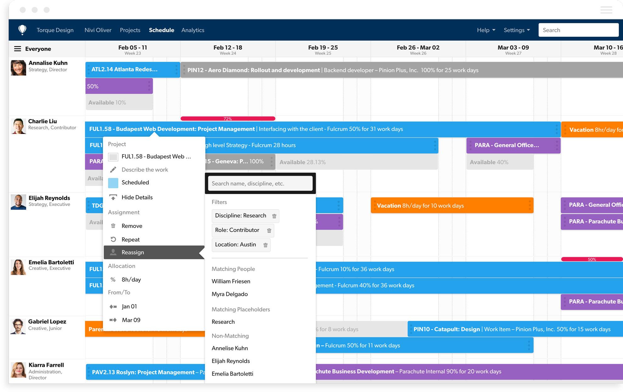 Interactive team scheduling