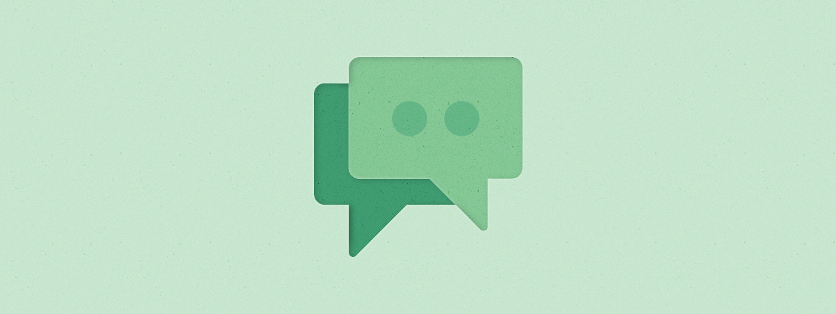 Icon illustration of two overlapping speech bubbles