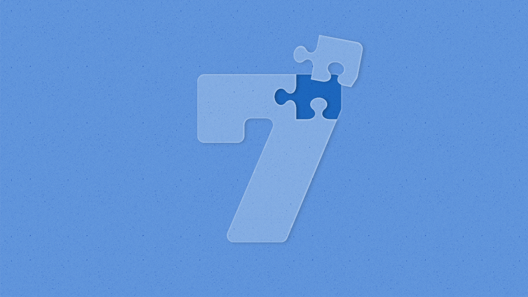 Illustration: Number seven as a jigsaw puzzle