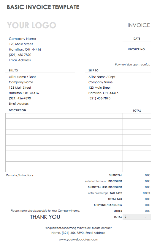Free Work Invoice Template from www.smartsheet.com
