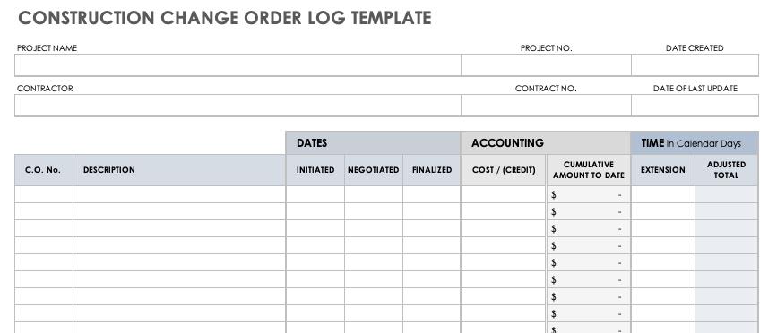 Free Construction Change Order Forms Smartsheet