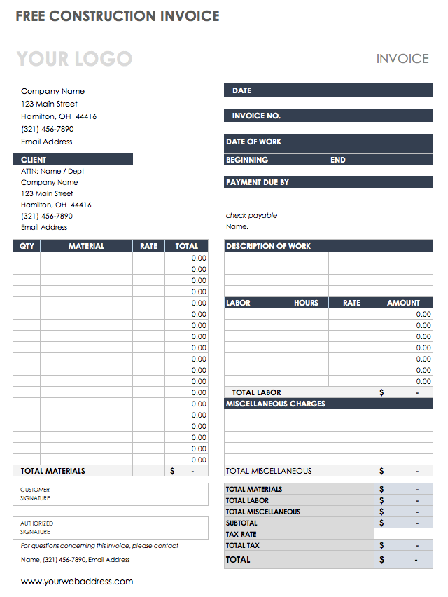 Download Free Pdf Invoice Templates Smartsheet