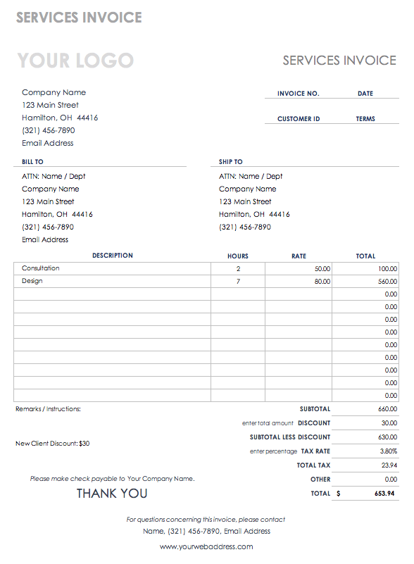 Download Free Pdf Invoice Templates Smartsheet
