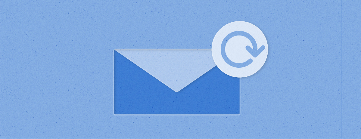 An image of an envelope appears against a blue blackground, as a circular arrow appears in the top right corner of the envelope to indicate refreshing