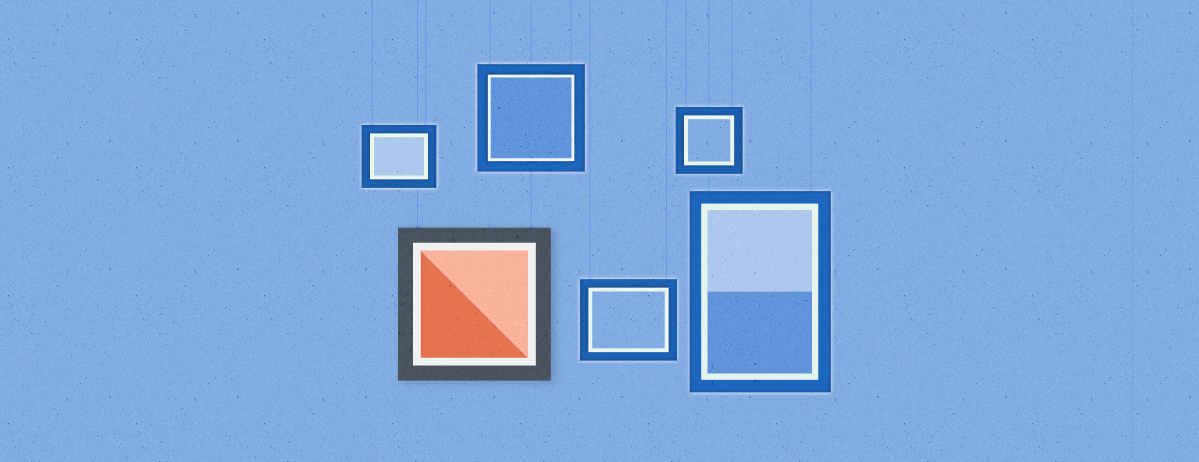 An array of frames photos and images appear against a blue wall with a square image in the bottom left of the arrangement appearing in bright orange as a pop of color