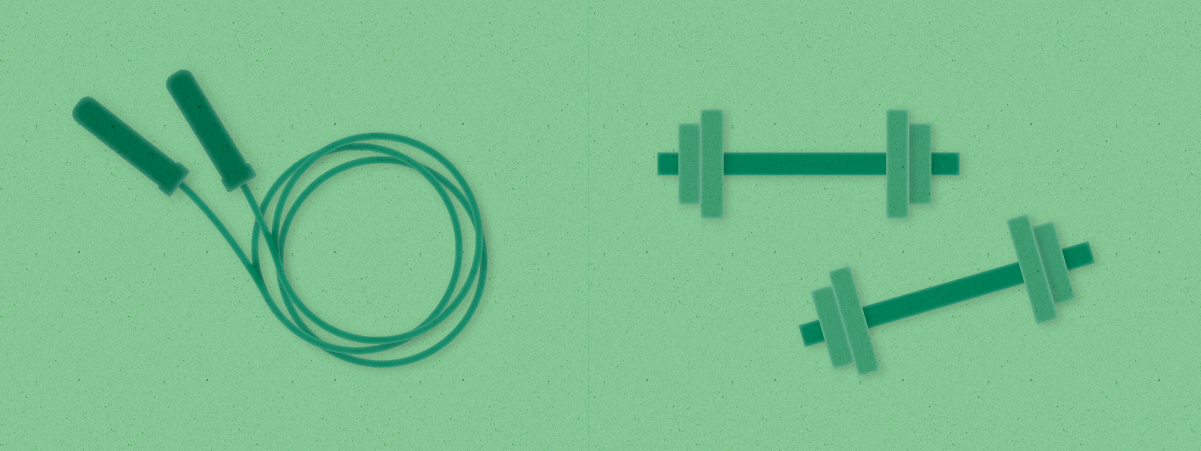 A coiled set of jump ropes appear next to two free weights