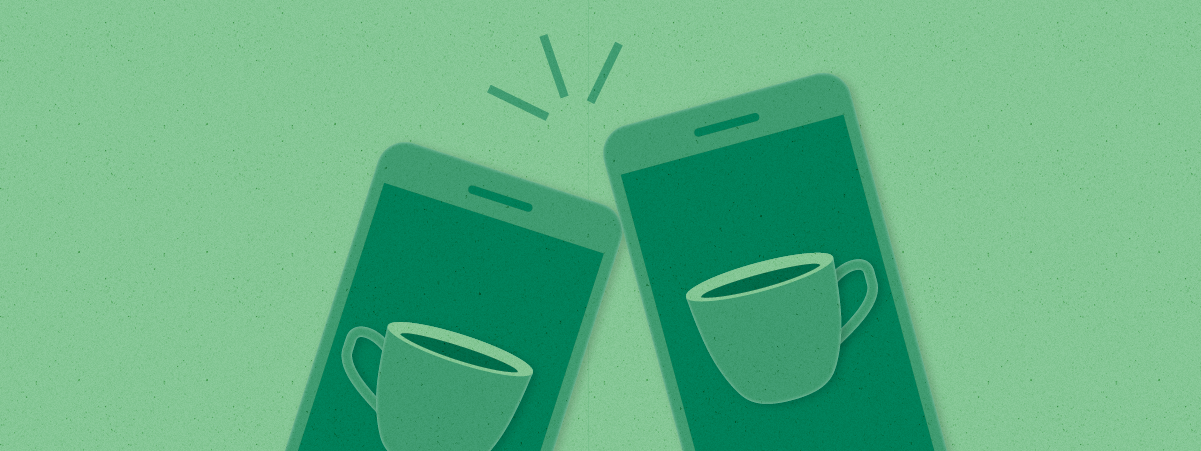 Two cell phones appear to cheers like glasses clinking together as mugs of coffee appear on the screens