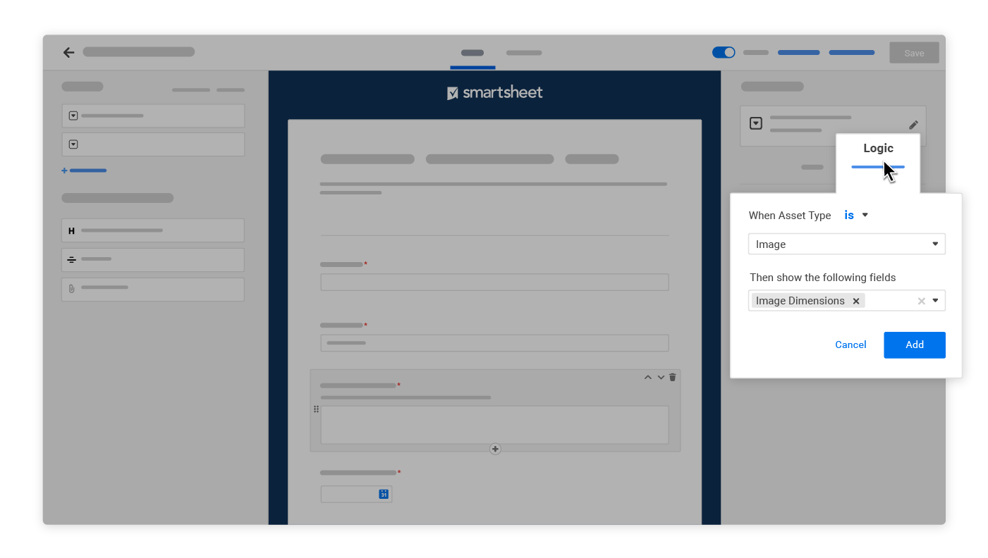Smartsheet forms builder with conditional logic