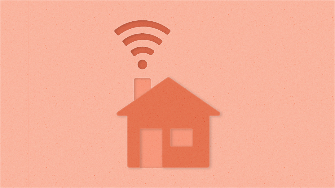 Illustration of a 2D house with Wi-Fi signal flowing from chimney