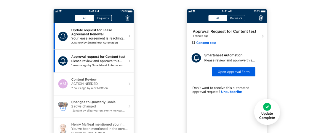Approval request form notification on the Smartsheet mobile app