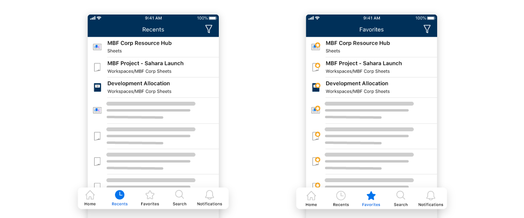 Recents and Favorites emphasized in the Smartsheet mobile app