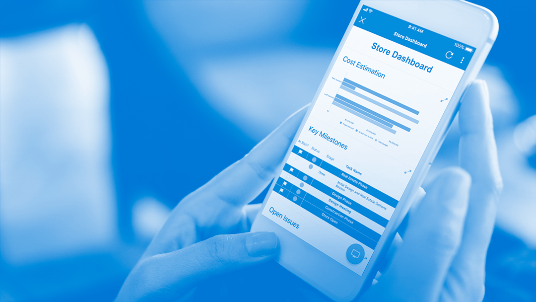 Smartsheet mobile app on a smartphone