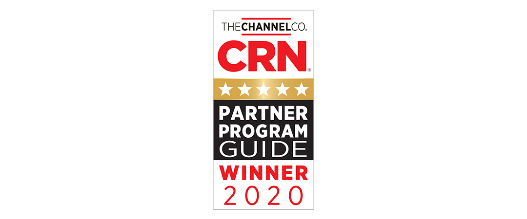 A badge of 5 stars and text reading CRN Partner Program Guide Winner 2020