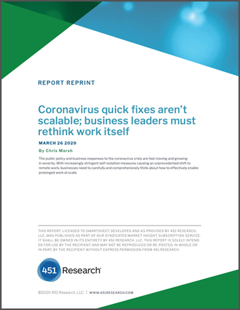 Cover page for 451 Research report: Coronavirus quick fixes aren't scalable