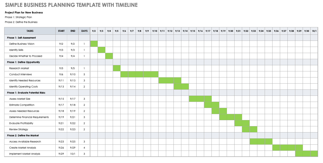 Simple Business Planning Template with Timeline