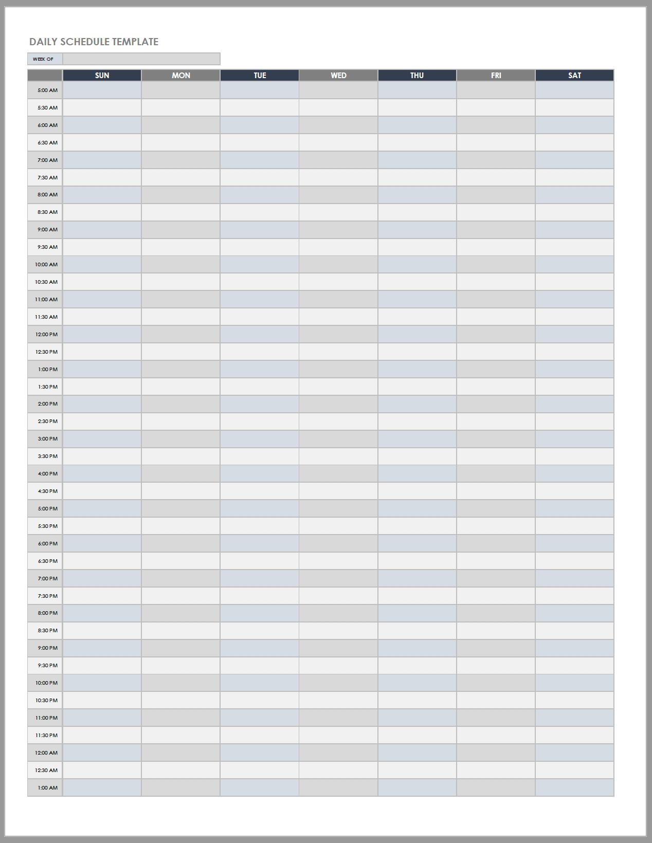 Free Daily Work Schedule Templates   Smartsheet