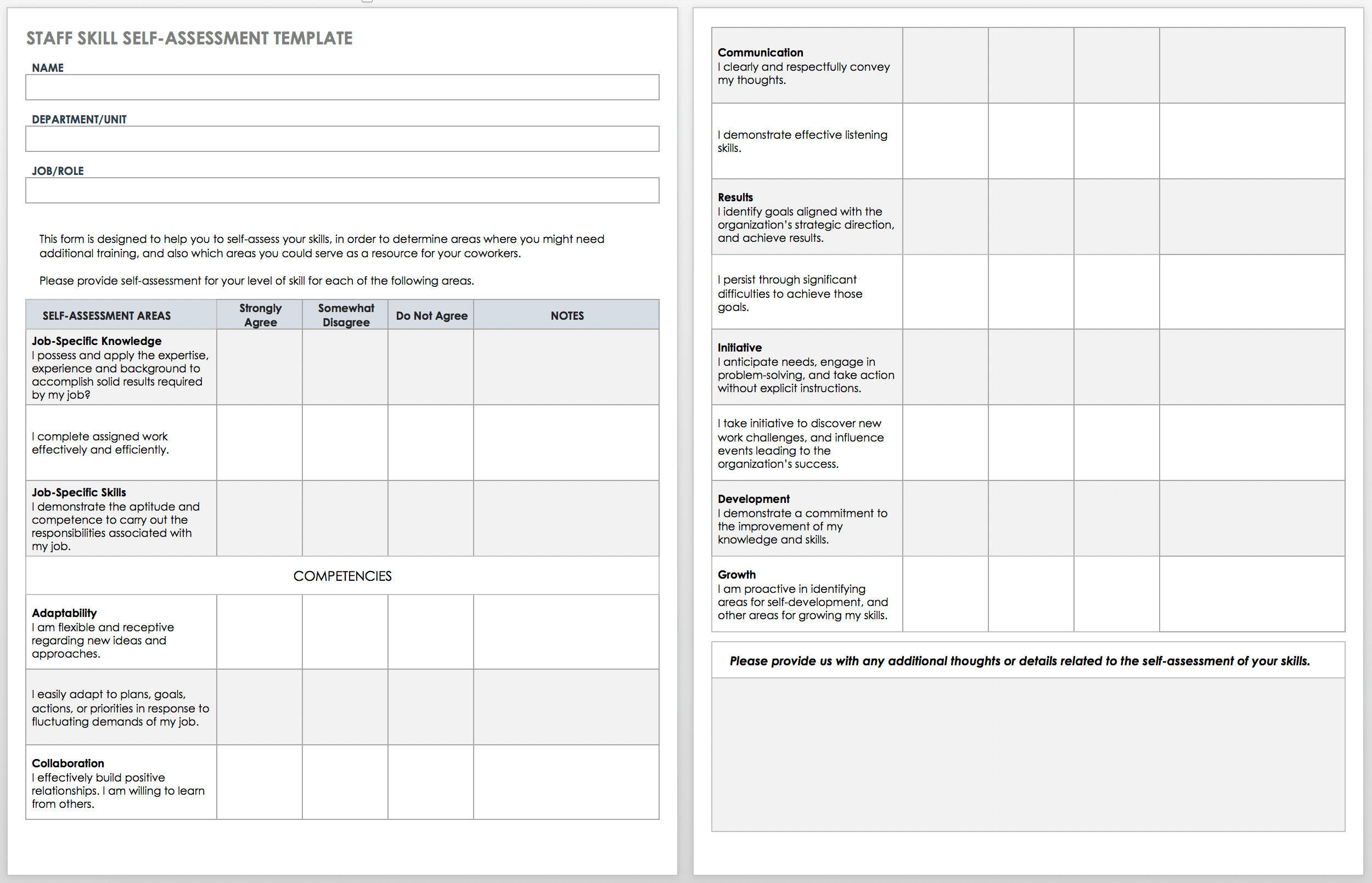 Employee Self Assessment Template from www.smartsheet.com