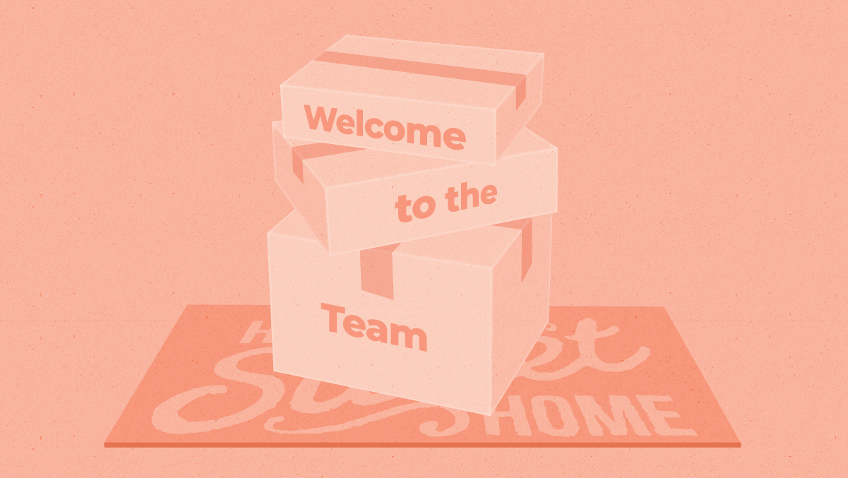 "A stack of boxes with the words ""Welcome to the team"" written on them"