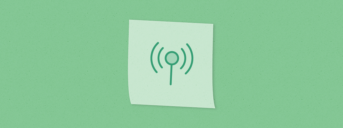Sticky note with network signal icon