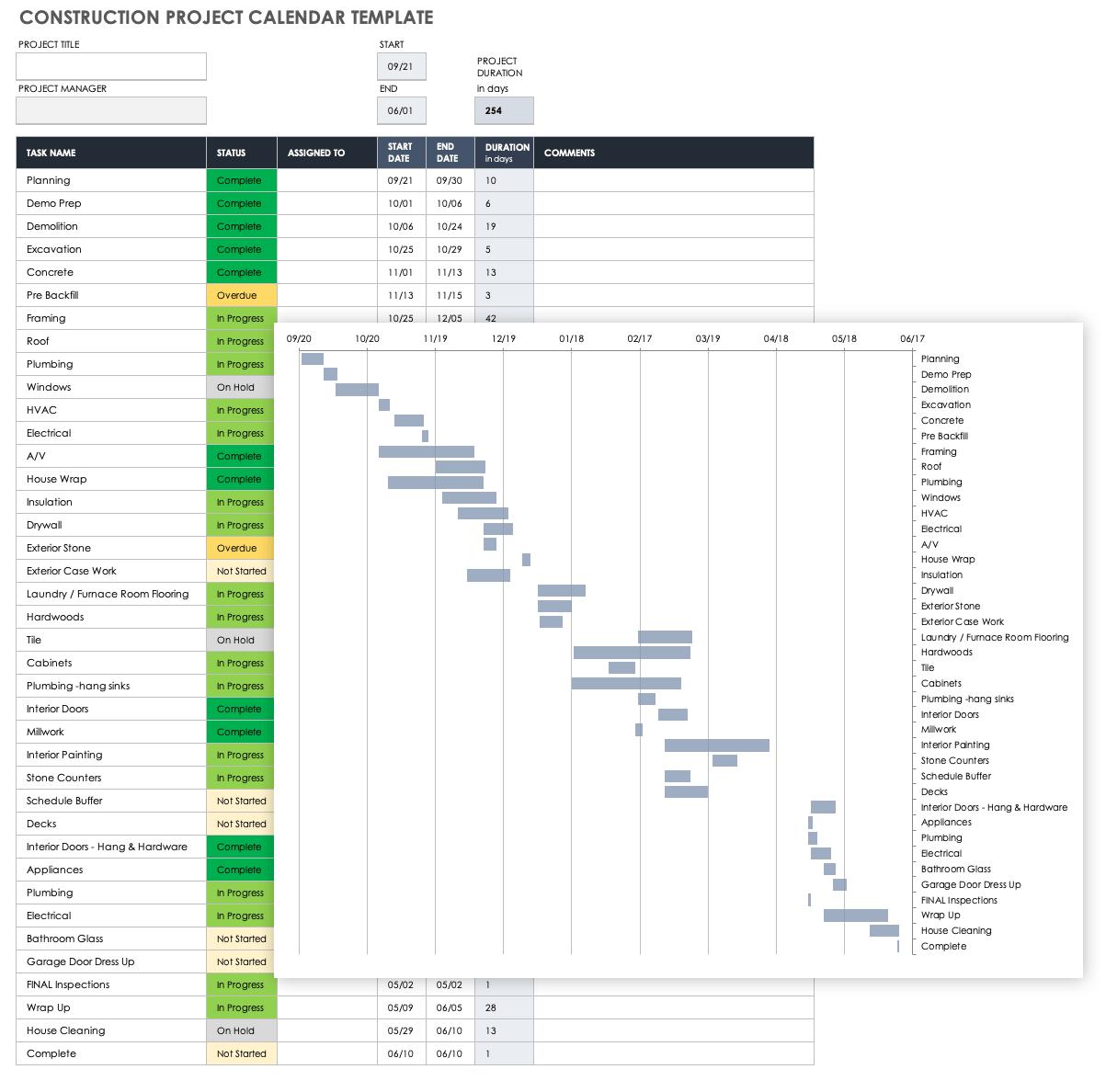 Free Construction Calendar Templates   Smartsheet