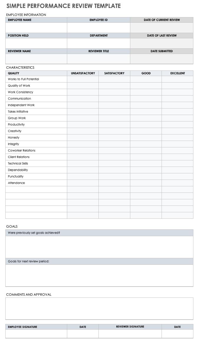 Free Self Evaluation Templates Smartsheet