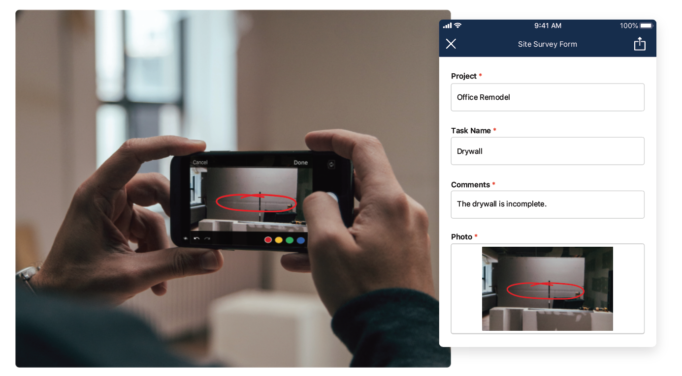 A screenshot of a photo with a red circle to show the markup capabilities of the Smartsheet mobile app
