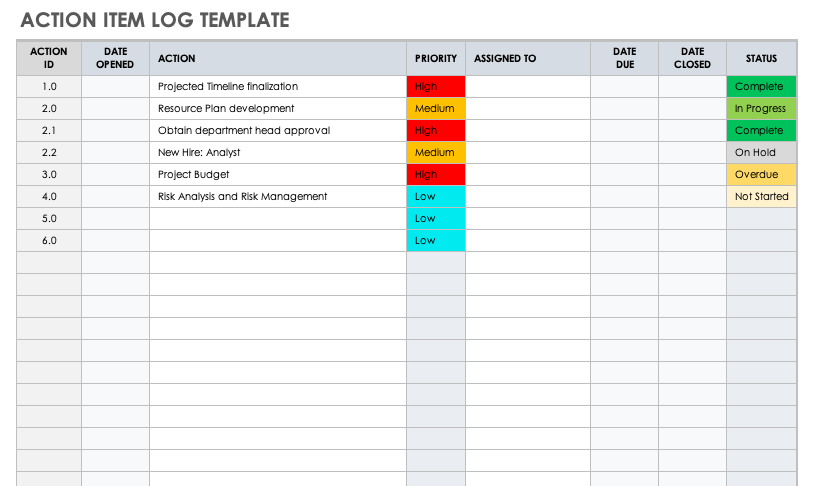 Action Item Template Word from www.smartsheet.com