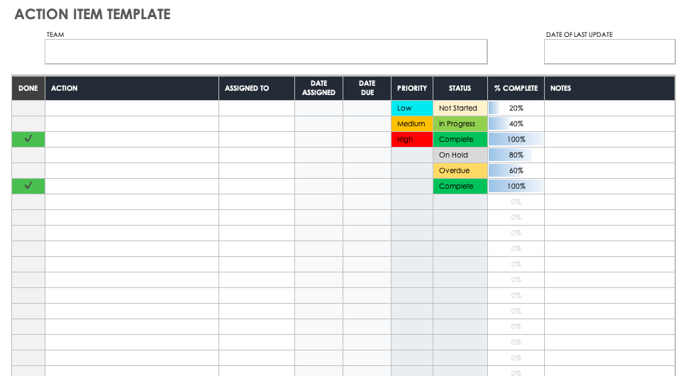 Free Action Item Templates | Smartsheet