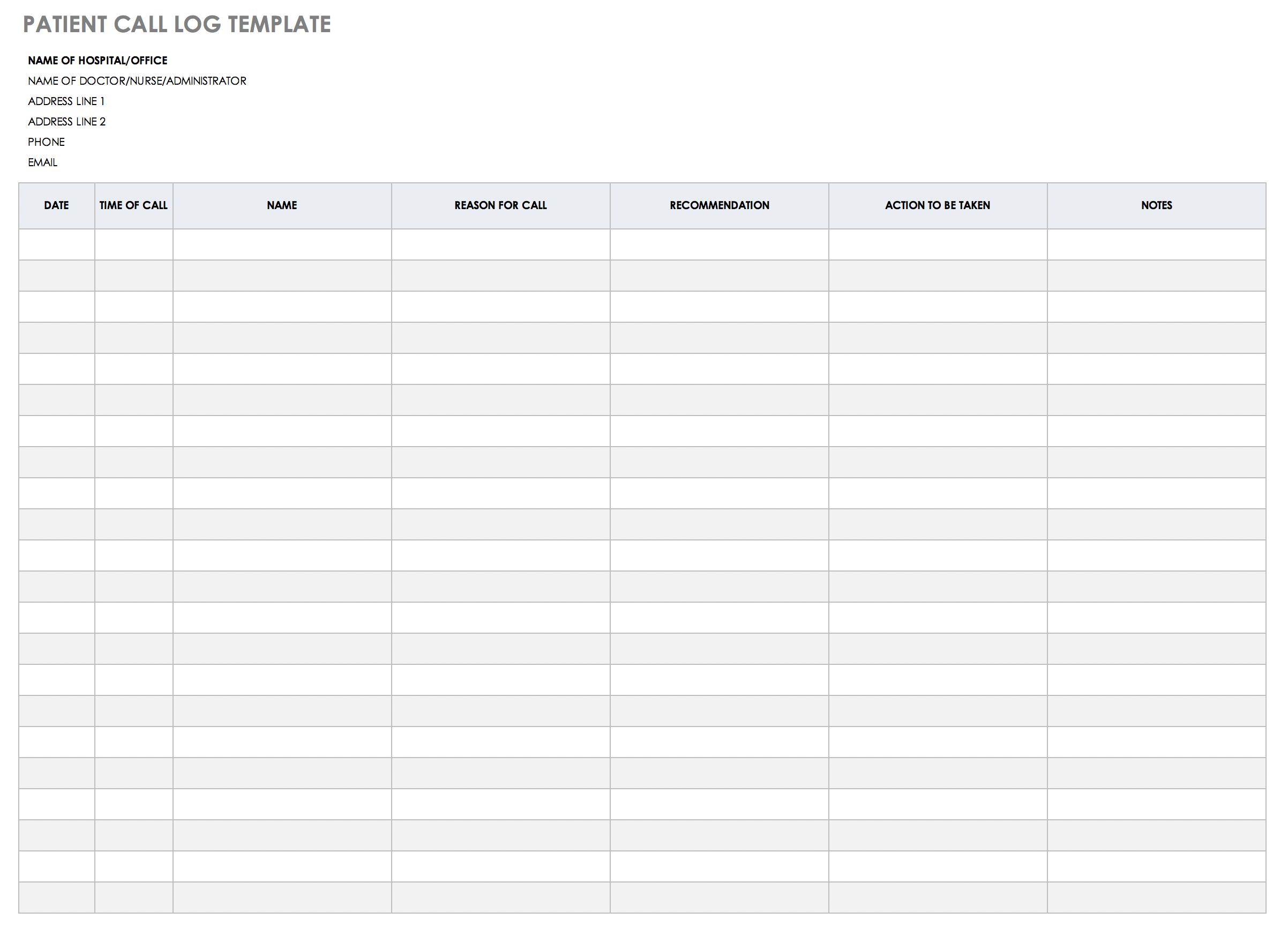 Free Client Call Log Templates Smartsheet