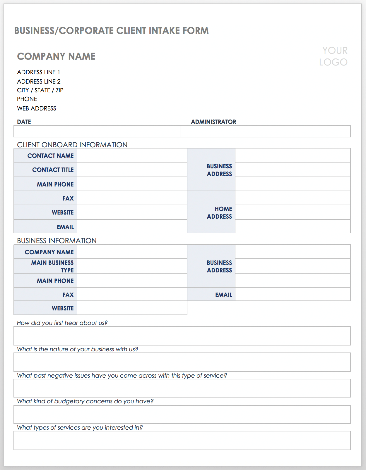 Client Intake Form Template from www.smartsheet.com