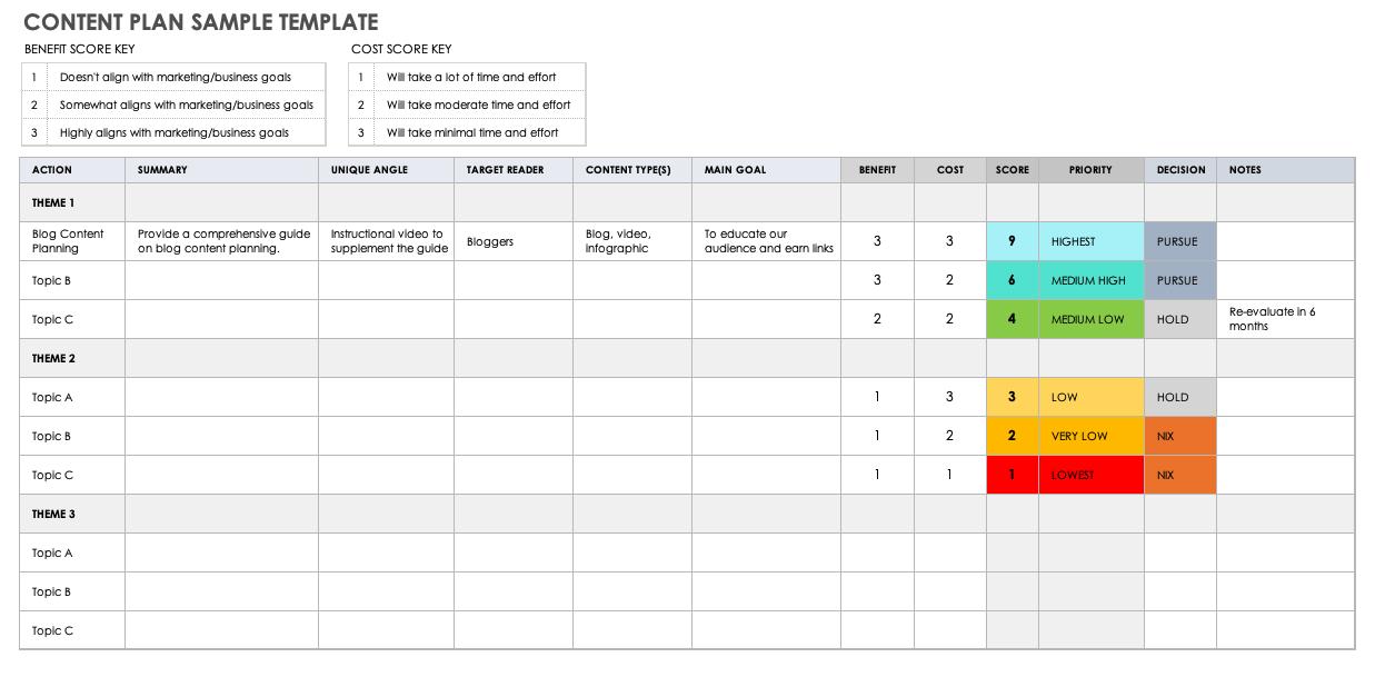 10 Free Content Plan Templates Smartsheet