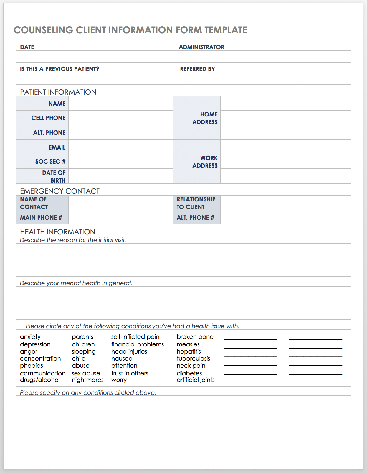 Free Client Information Forms & Templates  Smartsheet With Customer Information Card Template